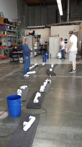 Sensor string laid out in the Pacific Gyre warehouse