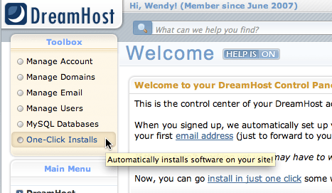 "DreamHost navigation menu showing ""One-Click Installs"""