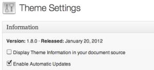 Genesis Theme Settings showing version 1.8.0 installed