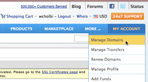 "Namecheap ""My Account"" tab with ""Manage Domains"" selected"