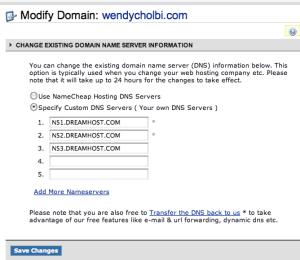 Namecheap Domain Name Server setup showing DreamHost nameservers