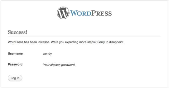 WordPress Installation Success