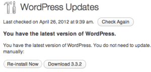 WordPress Updates showing version 3.3.2 installed