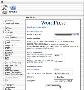 Fantastico WordPress installation page 1 of 3