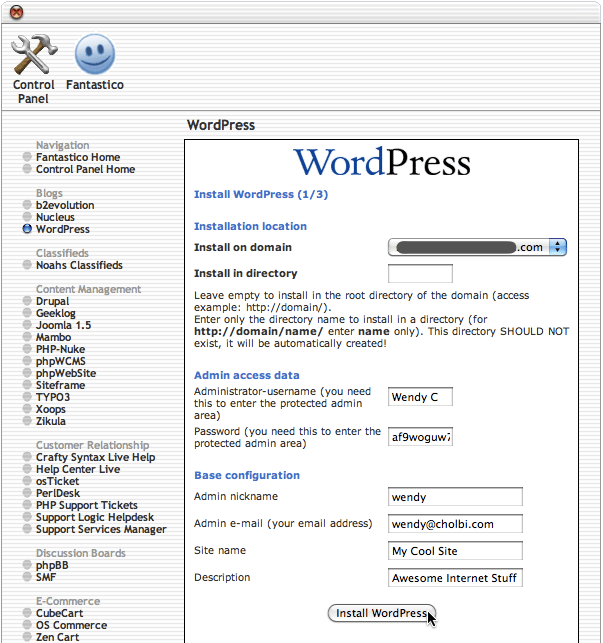 Fantastico WordPress installation page 1 of 3
