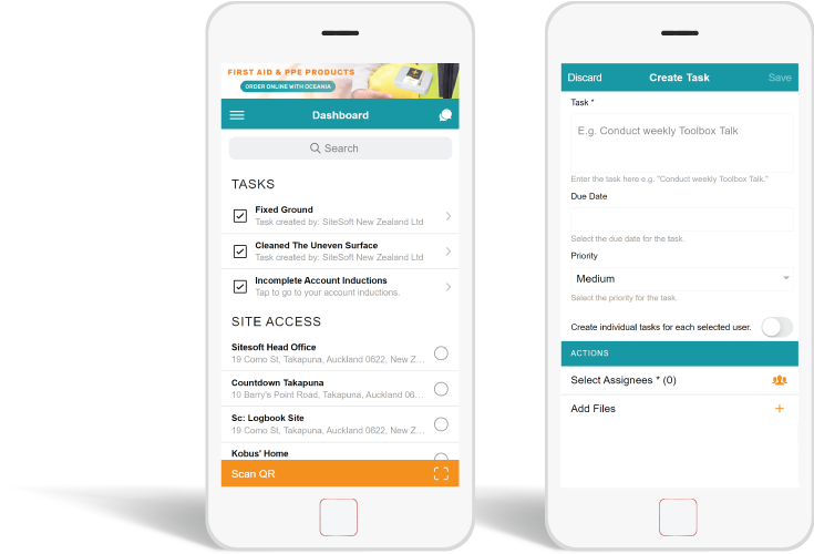 SiteConnect Site Safety Tasks on Mobile App