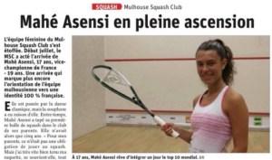 L'Alsace: Mahé Asensi en pleine ascension