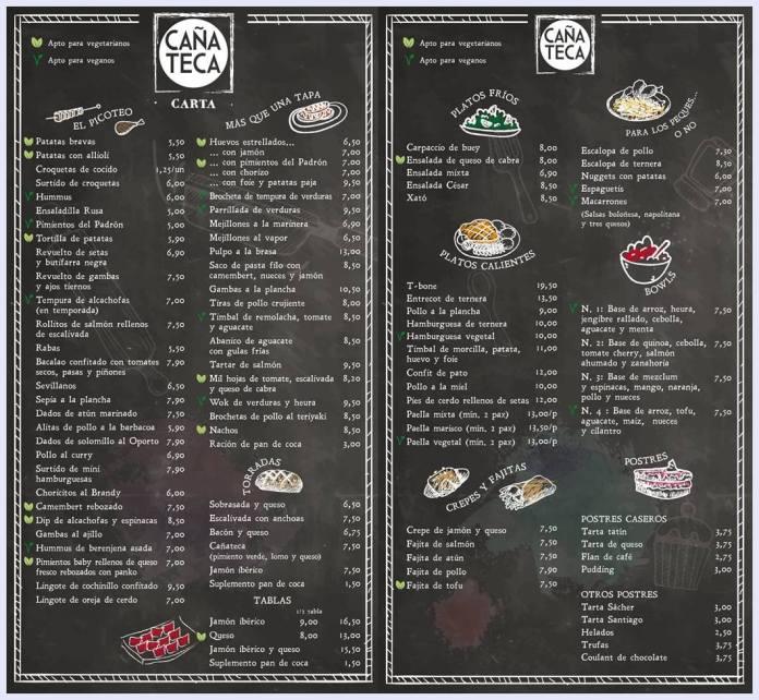 carta restaurante cañateca sitges