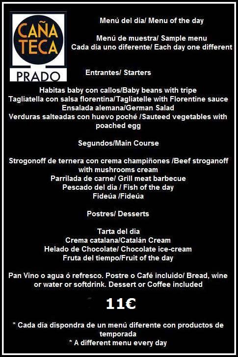 menu diario cañateca sitges