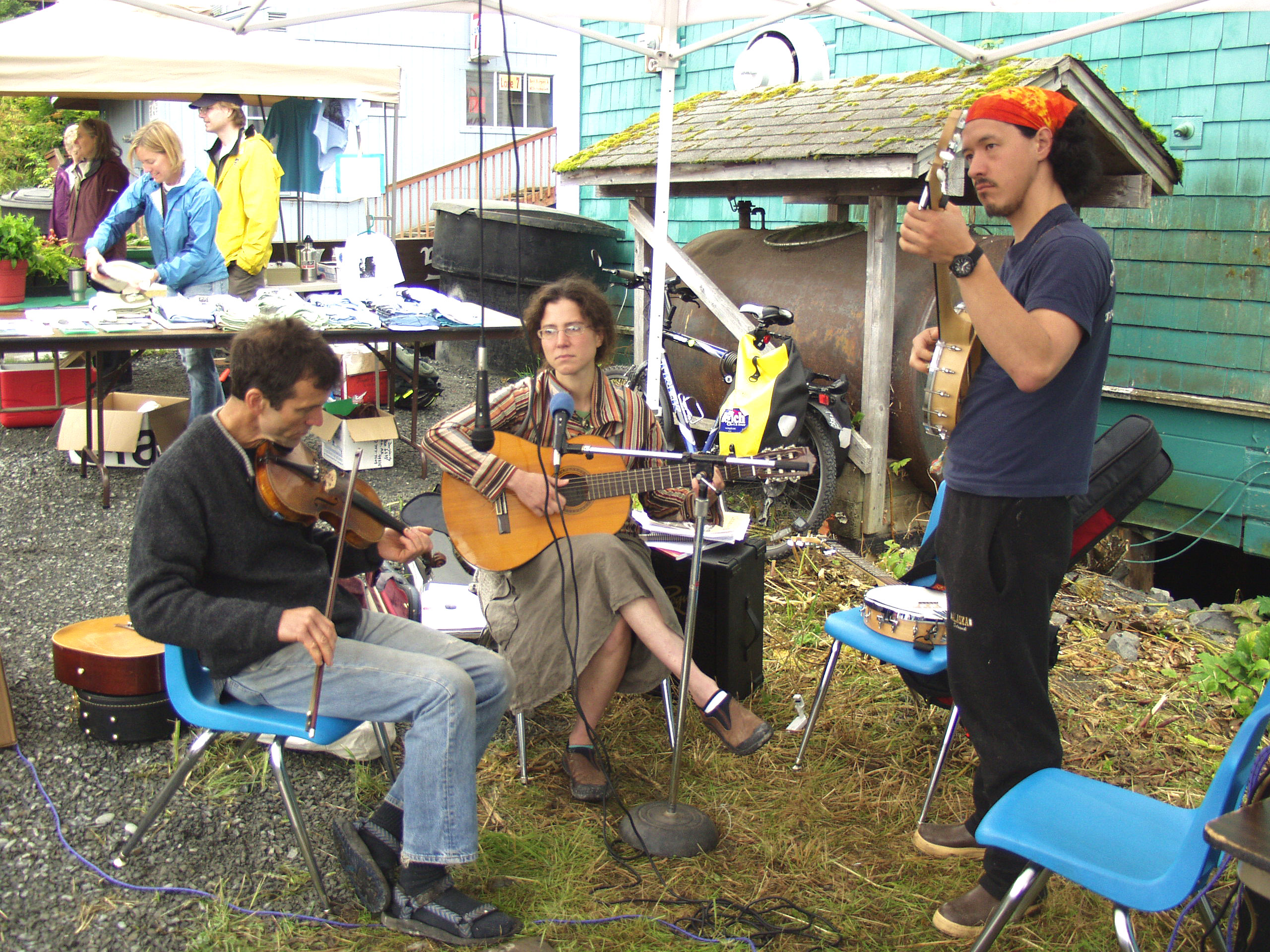 Musicians play in the jam session tent