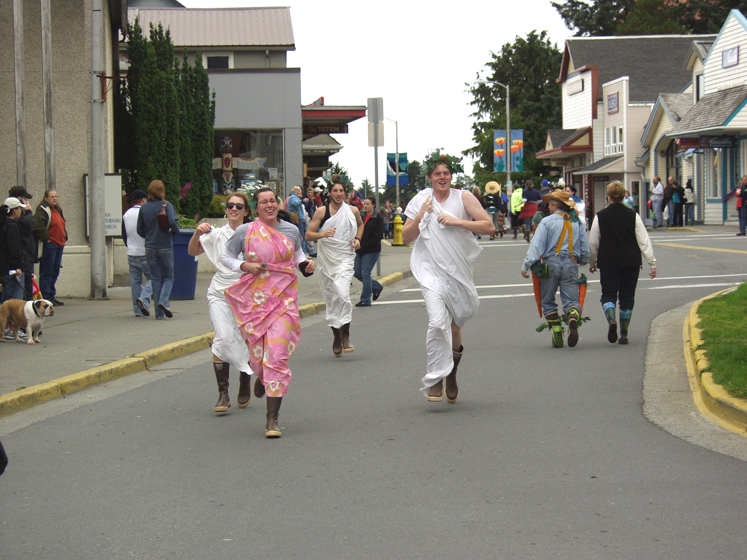 XtraTufs and togas are high fashion at the 2008 Running of the Boots