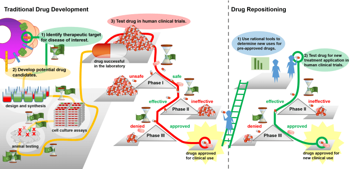 Figure 1. Traditional Drug Development vs. Drug Repositioning. Click to zoom.