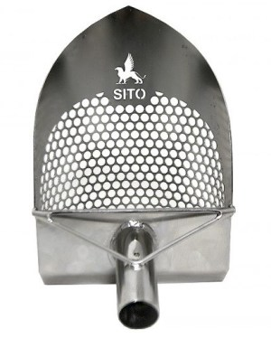 SITO- 200mm (7.75″) Wide (Circular Holes/Sharp Front) Stainless Steel Beach Sand Scoop