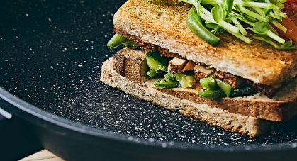 toasted sandwich in fry pan