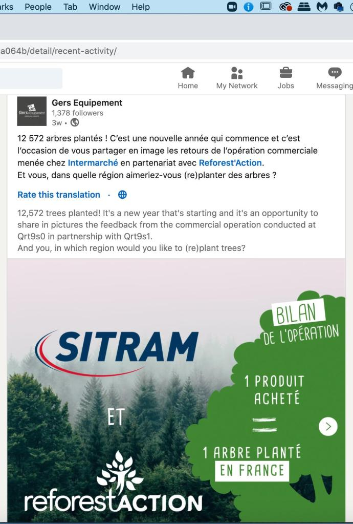 Linkedin Post on trees planted in France
