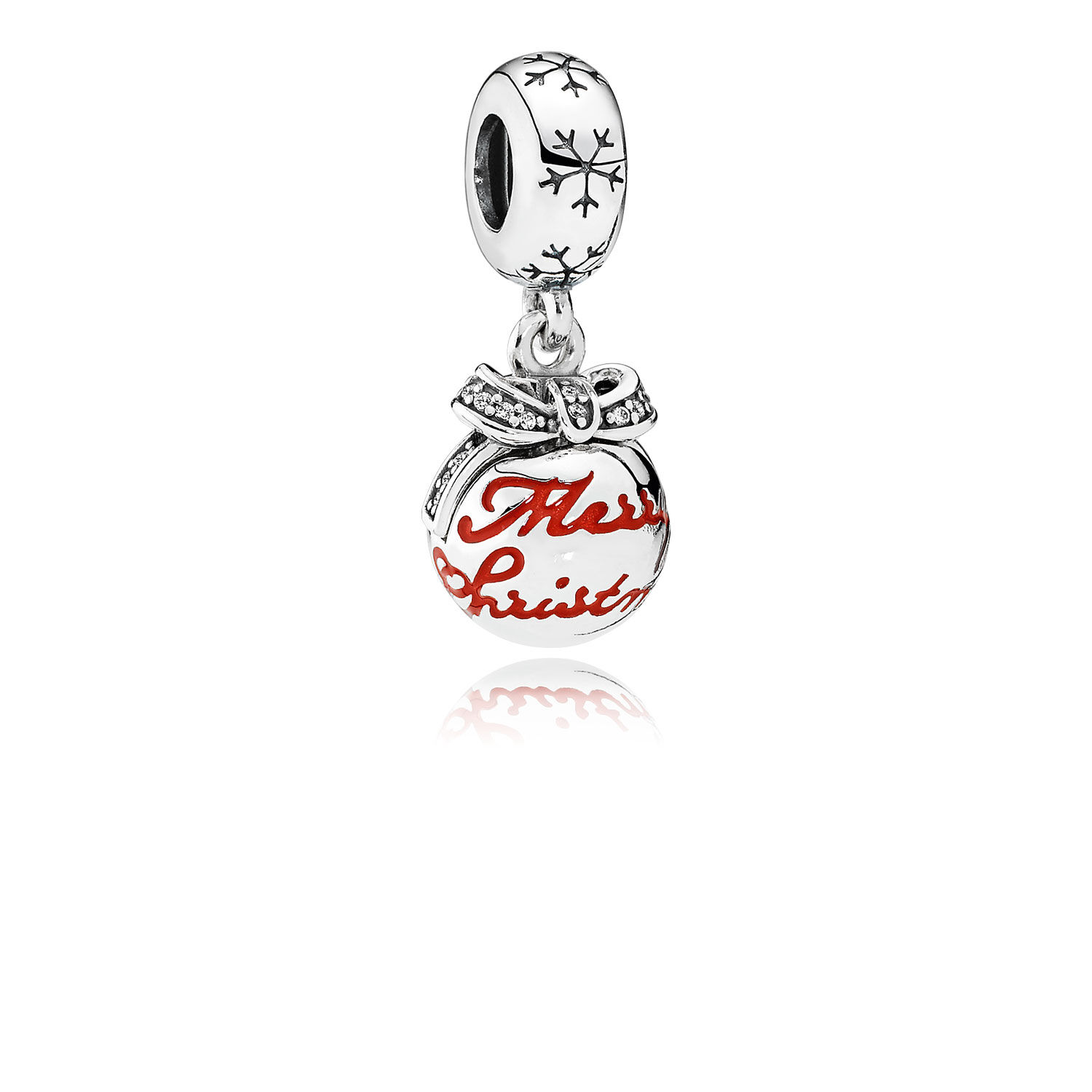 Merry Christmas Bauble Translucent Red Enamel Amp Clear CZ