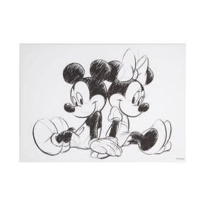 Mickey & Minnie Sketch Sitting Canvas