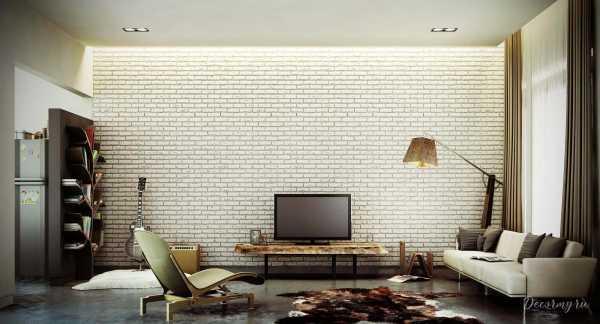 Обои кирпич белый – кладка стены, фото в интерьере, белый ...