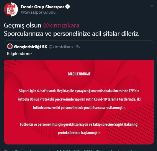 Sivasspor'dan Gençlerbirliği'ne geçmiş olsun mesajı