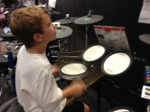 Owen playing drums