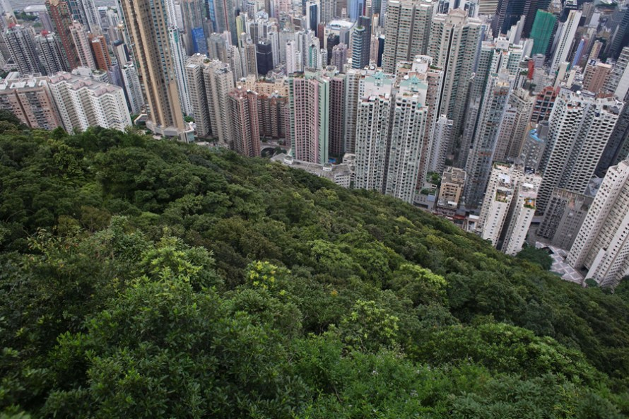 This picture taken on August 6, 2014 shows a general view of commercial and residential buildings in Hong Kong. Hong Kong lowered its annual economic growth forecast on August 15 after growth slowed to 1.8 per cent year-on-year in the second quarter. AFP PHOTO / DALE DE LA REY (Photo credit should read DALE de la REY/AFP/Getty Images)