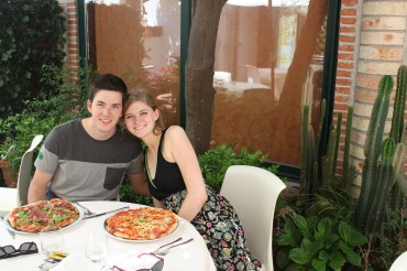 Eating pizza in Sicily