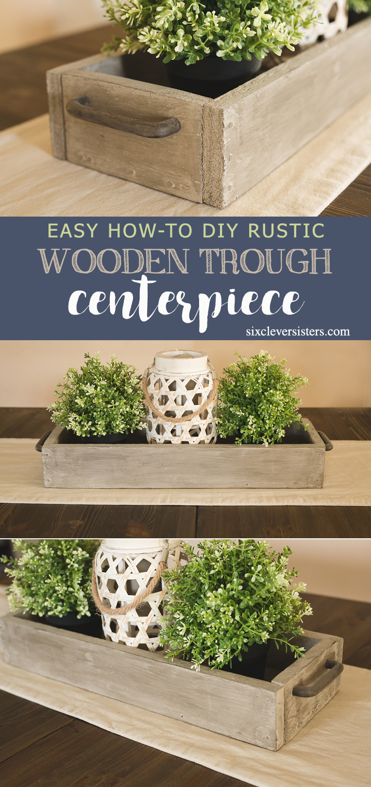 Diy rustic wooden trough centerpiece six clever sisters
