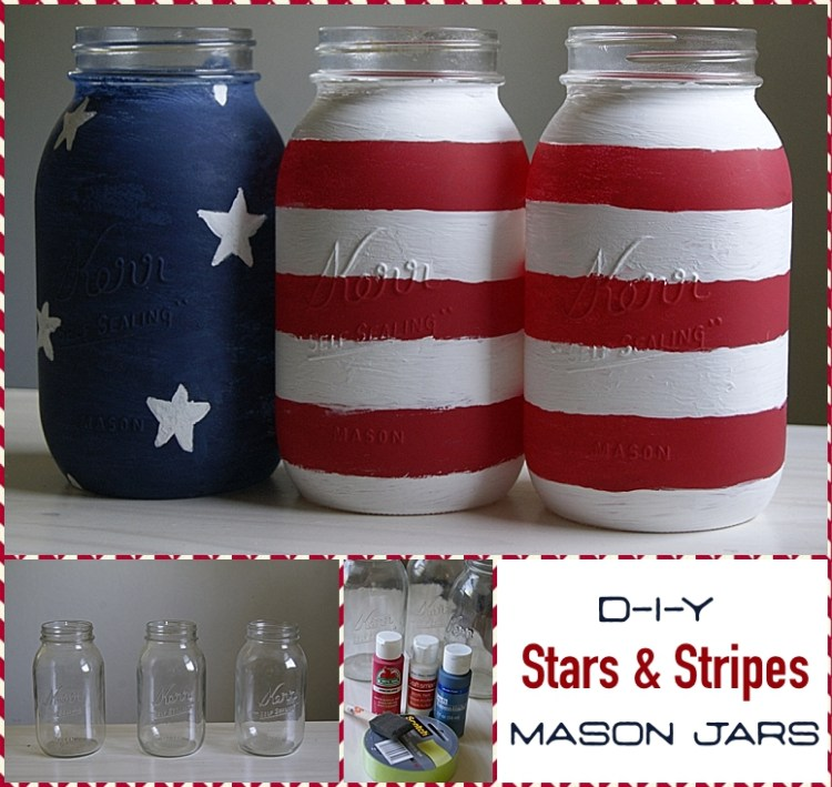 | Mason Jars | DIY Flag Jars | Painted Jars | Stars & Stripes Jars | SixCleverSisters | Spruce up your patriotic party with these DIY Stars & Stripes Maons Jars - tutorial at SixCleverSisters.com!