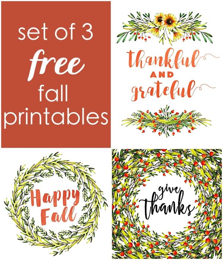 Set of 3 Free Fall Printables