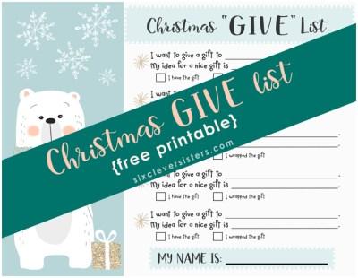 Christmas GIVE List