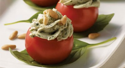 pesto stuffed cherry tomatoes healthy fall thanksgiving appetizer recipe