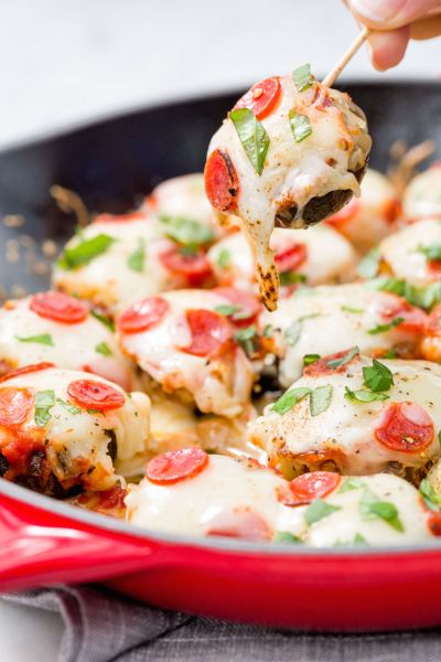 pizza stuffed mushrooms healthy fall thanksgiving appetizer