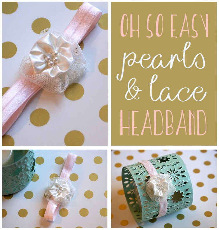 diy easy baby headband rosette pearl lace tutorial