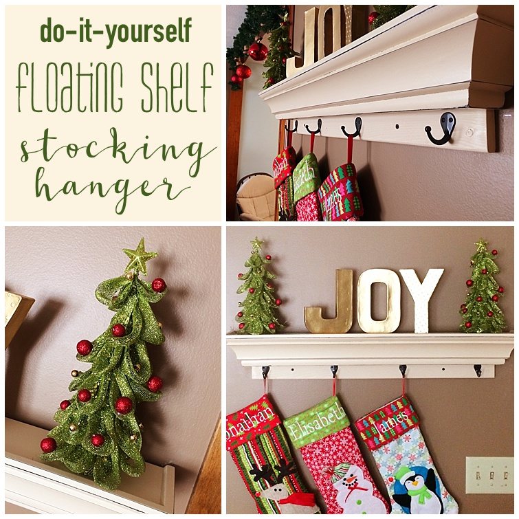 diy floating shelf stocking hanger - Christmas Shelf Decorations