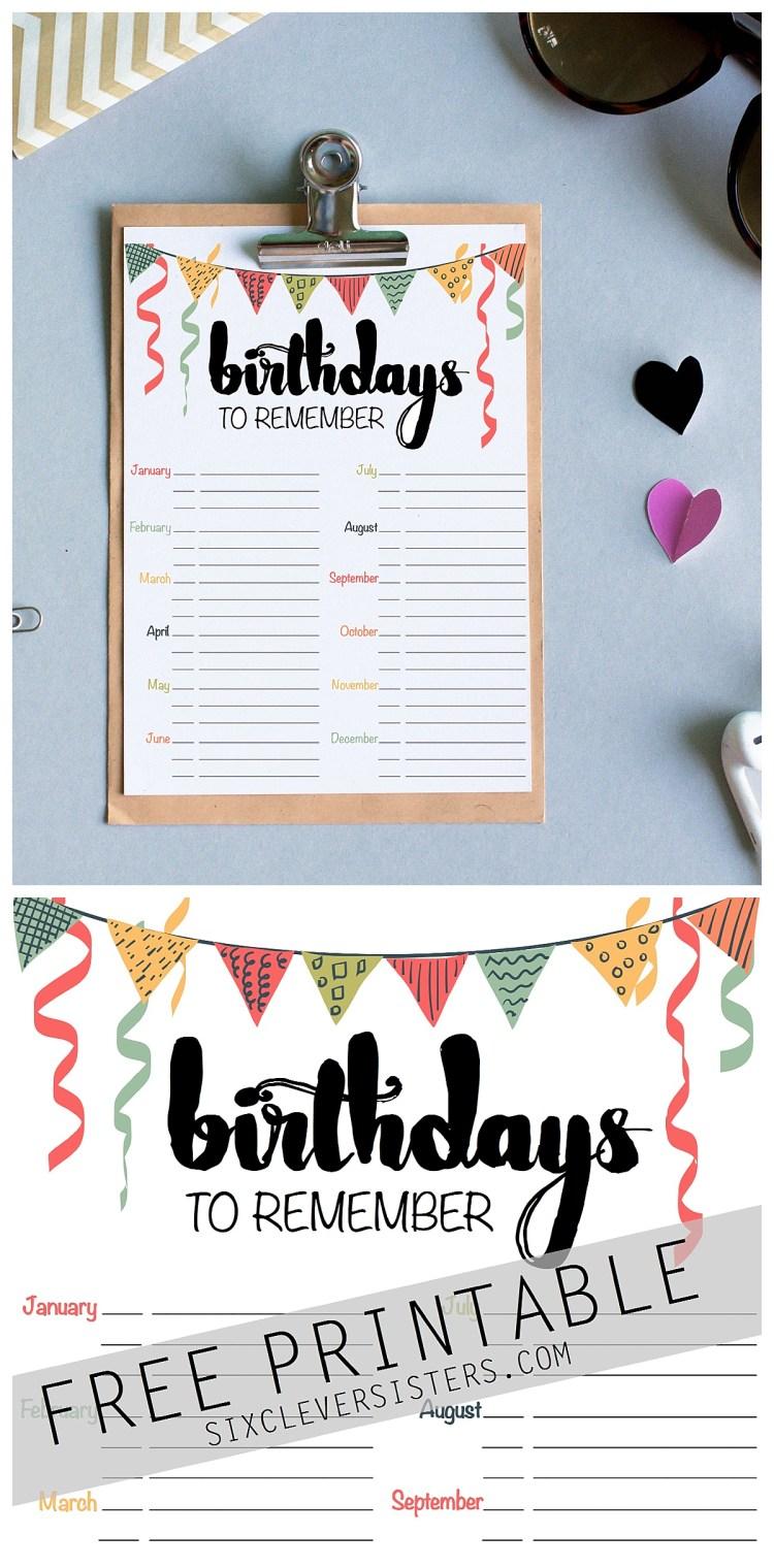 Birthday Free Printable Schedule Reminder