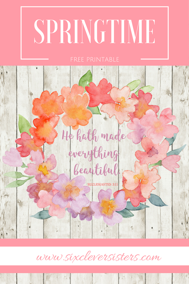 Free Printable for Spring | Spring Decor | Scripture Printable | Spring Printable | Free Printables to Download | Spring is officially here! You can add a little touch of spring to your desk, house, or workplace with this free #spring printable. Go to www.sixcleversisters.com for the free download.
