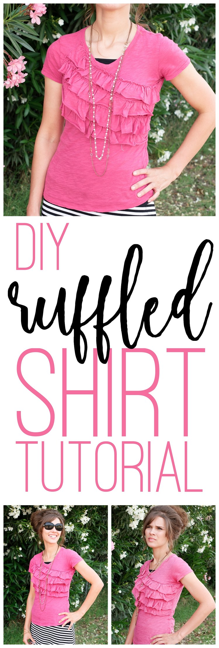 DIY Ruffle Shirt | OOTD | Free Sewing Pattern | Cute Summer Shirt | Upcycled T Shirt | Modest Outfit Inspiration | Shirt Tutorial | Summer Style | DIY Clothes | Six Clever Sisters | This cute summer shirt from Six Clever Sisters has step-by-step instructions and requires minimal sewing experience. Great easy project for a beginner to make a ruffle t shirt!