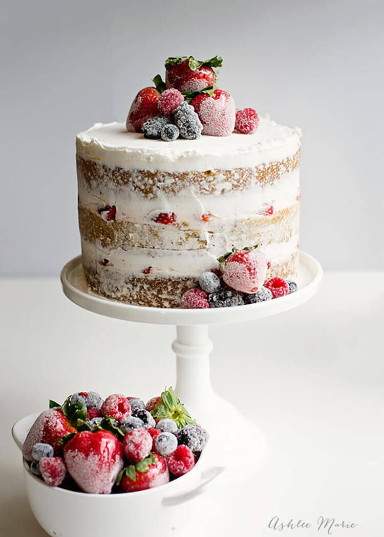 Spring Desserts | Gorgeous Dessert | Beautiful Cake Recipe | Summer Dessert Recipes | Yummy Desserts | Fruit Desserts | Chocolate Desserts | Fancy Elegant Desserts | Impressive Dessert Recipe | Eye Catching | Six Clever Sisters | Mothers Day Ideas | Mothers Day Recipe | Naked Cake with Sugared Berries Tutorial