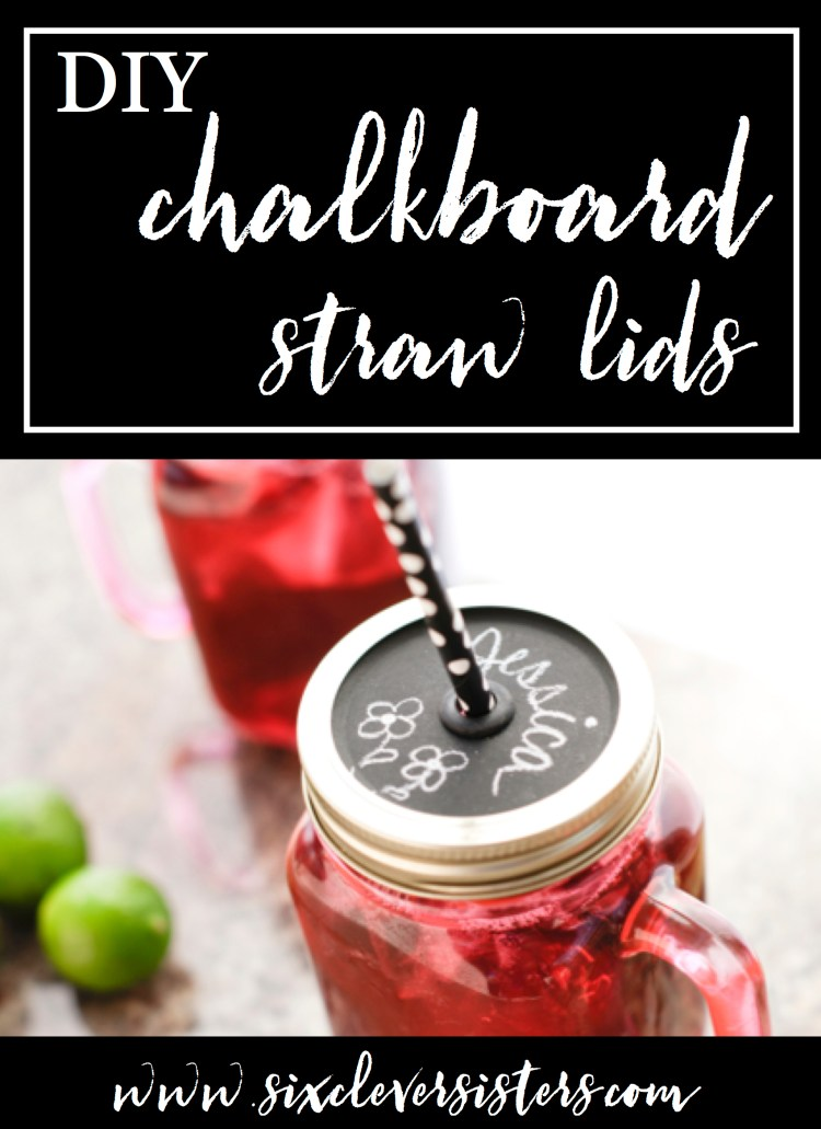 DIY Chalkboard Lids | Mason Jar Lids | Chalkboard Labels | DIY Gift Ideas | Mason Jar Crafts | Chalkboard Paint Crafts | Decorating Jar Lids | Gift Ideas | This easy #tutorial is on Six Clever Sisters. Find out how to make these diy chalkboard mason jar straw lids!
