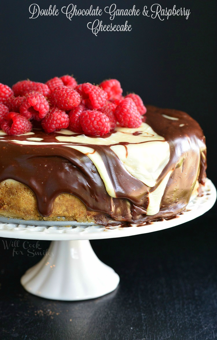 Spring Desserts | Gorgeous Dessert | Beautiful Cake Recipe | Summer Dessert Recipes | Yummy Desserts | Fruit Desserts | Chocolate Desserts | Fancy Elegant Desserts | Impressive Dessert Recipe | Eye Catching | Six Clever Sisters | Mothers Day Ideas | Mothers Day Recipe | Double Chocolate Ganache and Raspberry Cheesecake
