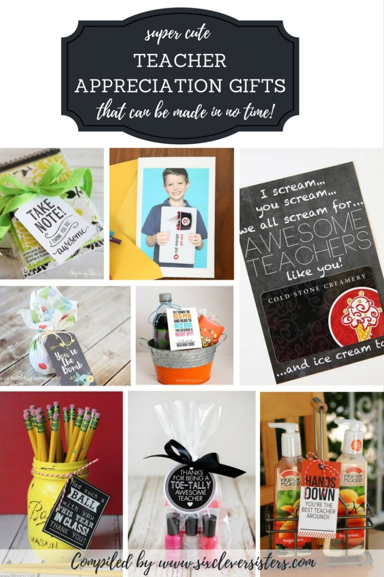 Teacher Appreciation Gifts | Gifts for Teachers End of Year | Teacher Appreciation Week | Gifts for Teachers | Teacher Appreciation Gifts DIY | Teacher Appreciation | Gifts for Teachers DIY | Teacher Appreciation Week Ideas | Searching for some easy teacher appreciation gift ideas? We at www.sixcleversisters.com have a nice roundup of ideas that are sure to be a hit! Check it out!
