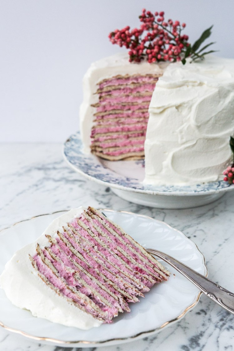 Spring Desserts | Gorgeous Dessert | Beautiful Cake Recipe | Summer Dessert Recipes | Yummy Desserts | Fruit Desserts | Chocolate Desserts | Fancy Elegant Desserts | Impressive Dessert Recipe | Eye Catching | Six Clever Sisters | Mothers Day Ideas | Mothers Day Recipe | Almond Crepe Cake with Raspberry Rose Cream