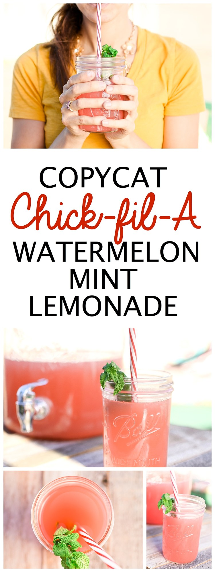 Watermelon Mint Lemonade Chick Fil A Recipe Copycat | Summer Drinks | Fourth of July | Food Ideas | Party Food | BBQ | Drink Recipes | Lemonade Recipe | Summer Fun | Things to Do | Fresh Food | Fruit Recipes