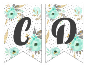 Free Printable Alphabet Banner Mint and Gold | Free Printable Letters for Banners | Free Printable Banner Letters Mint | Free Printable Banner Alphabet Mint | Decorating for your next party is easy when you download this gorgeous mint & gold floral alphabet banner on the Six Clever Sisters blog!!