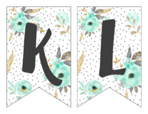 picture relating to Printable Letters Banner known as Free of charge Printable Alphabet Banner MINT GOLD - 6 Good Sisters