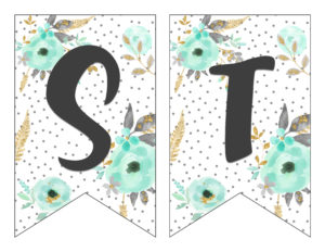 graphic about Printable Letter Banners called Free of charge Printable Alphabet Banner MINT GOLD - 6 Good Sisters