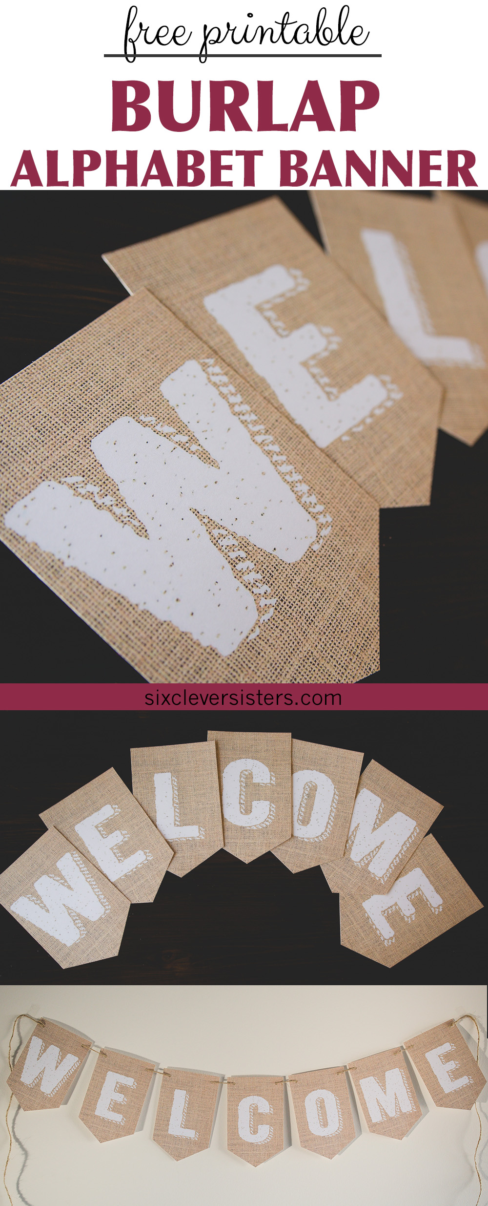 photo regarding Printable Burlap Paper referred to as Printable Burlap Banner - 6 Intelligent Sisters