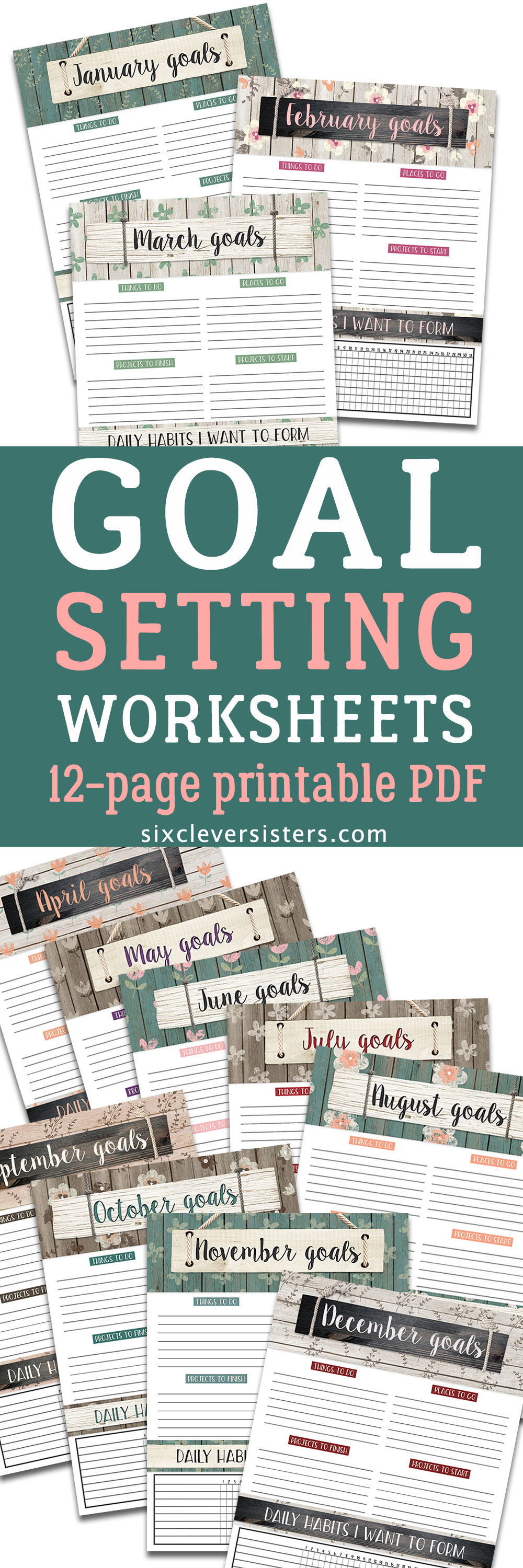 Monthly Goal Setting Worksheets for 2018 | GOALS PLANNER - Six ...