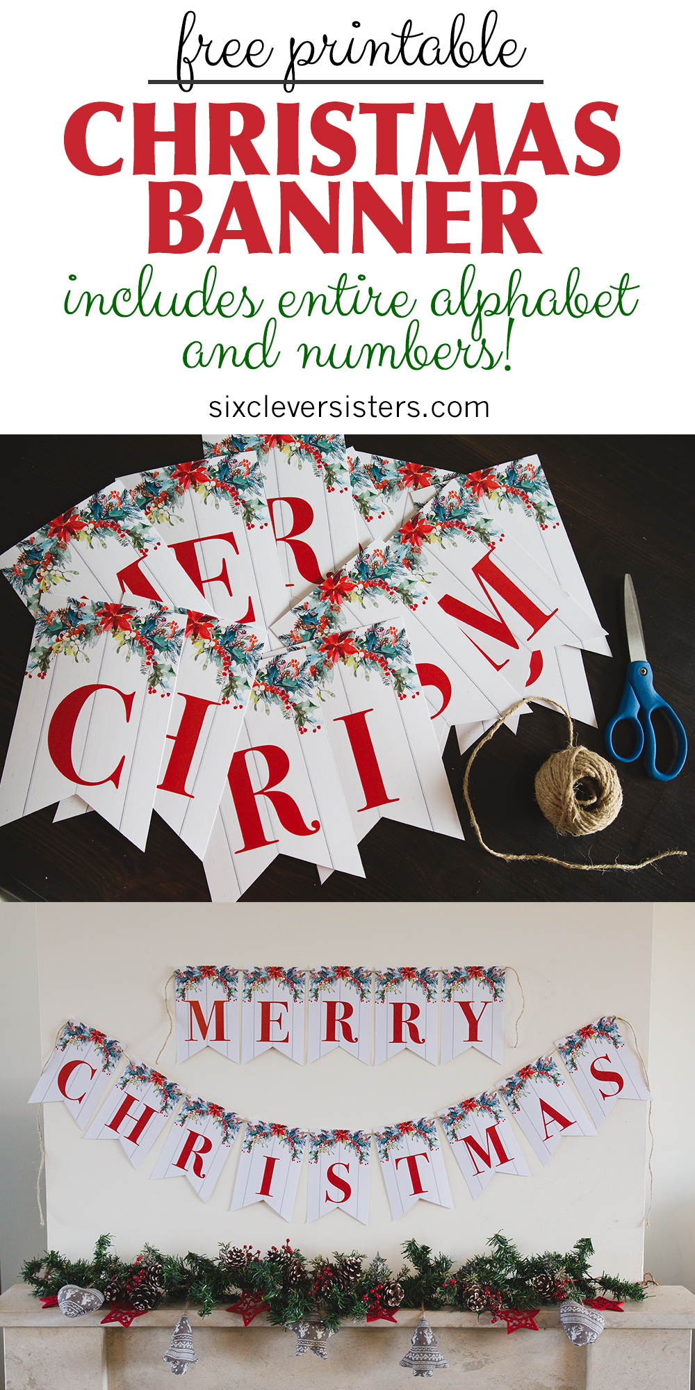photograph relating to Printable Merry Christmas Banner identify Printable Merry Xmas Banner - 6 Sensible Sisters