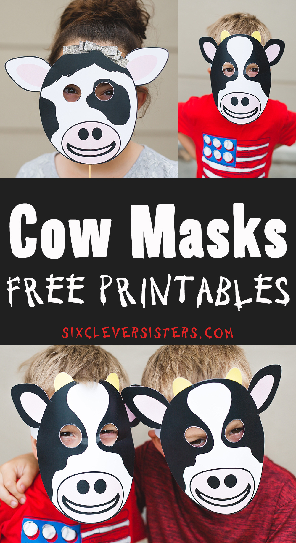 graphic about Cow Appreciation Day Printable called Chick Fil A Cow Mask - 6 Good Sisters